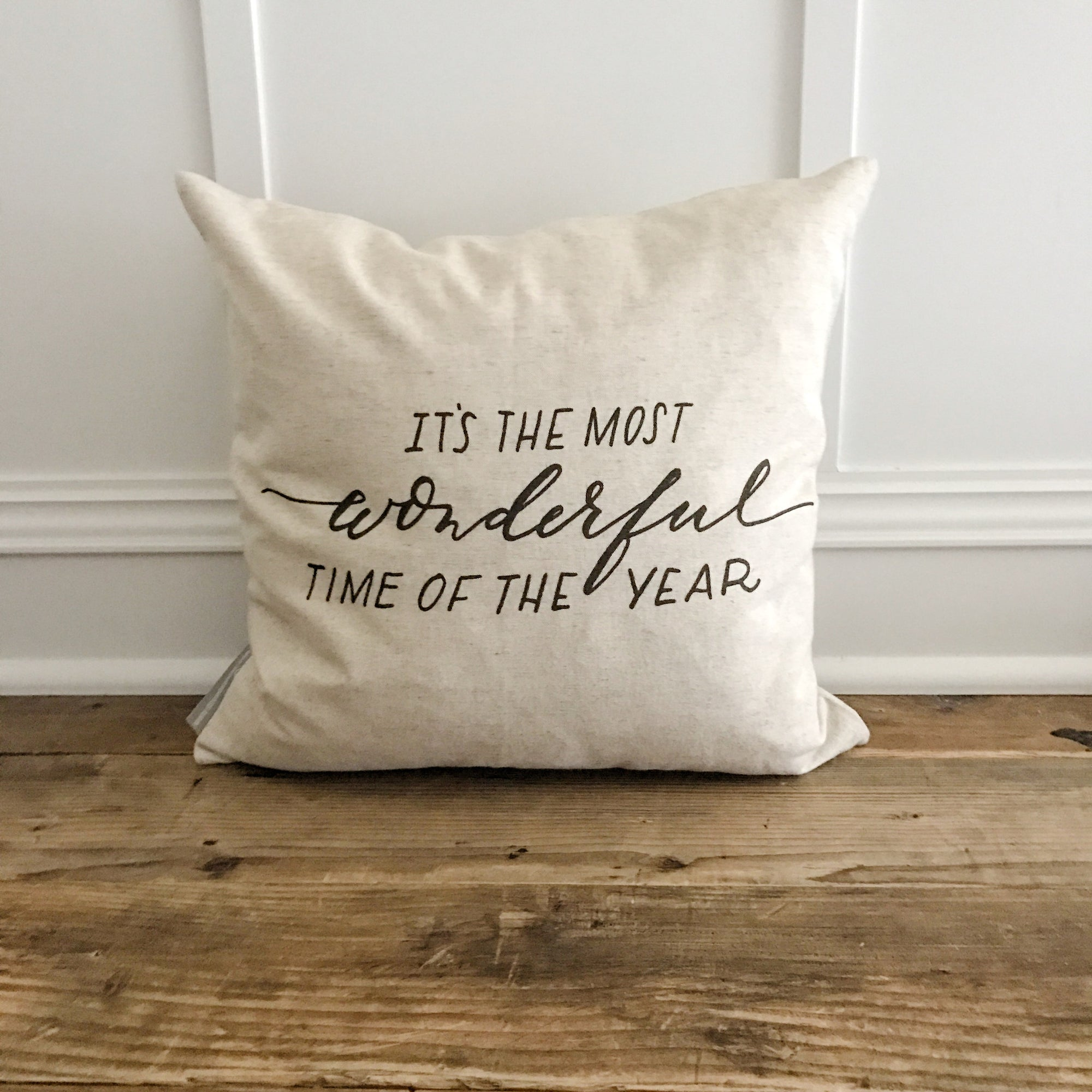 The Most Wonderful Time of the Year Pillow Cover - Linen and Ivory