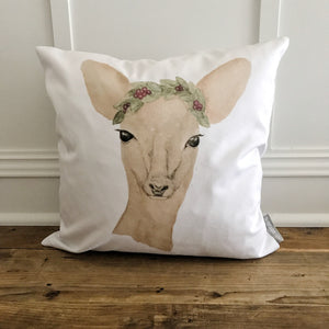 Watercolor Deer Pillow Cover - Linen and Ivory