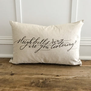 Sleigh Bells Calligraphy Pillow Cover (Design 2) - Linen and Ivory