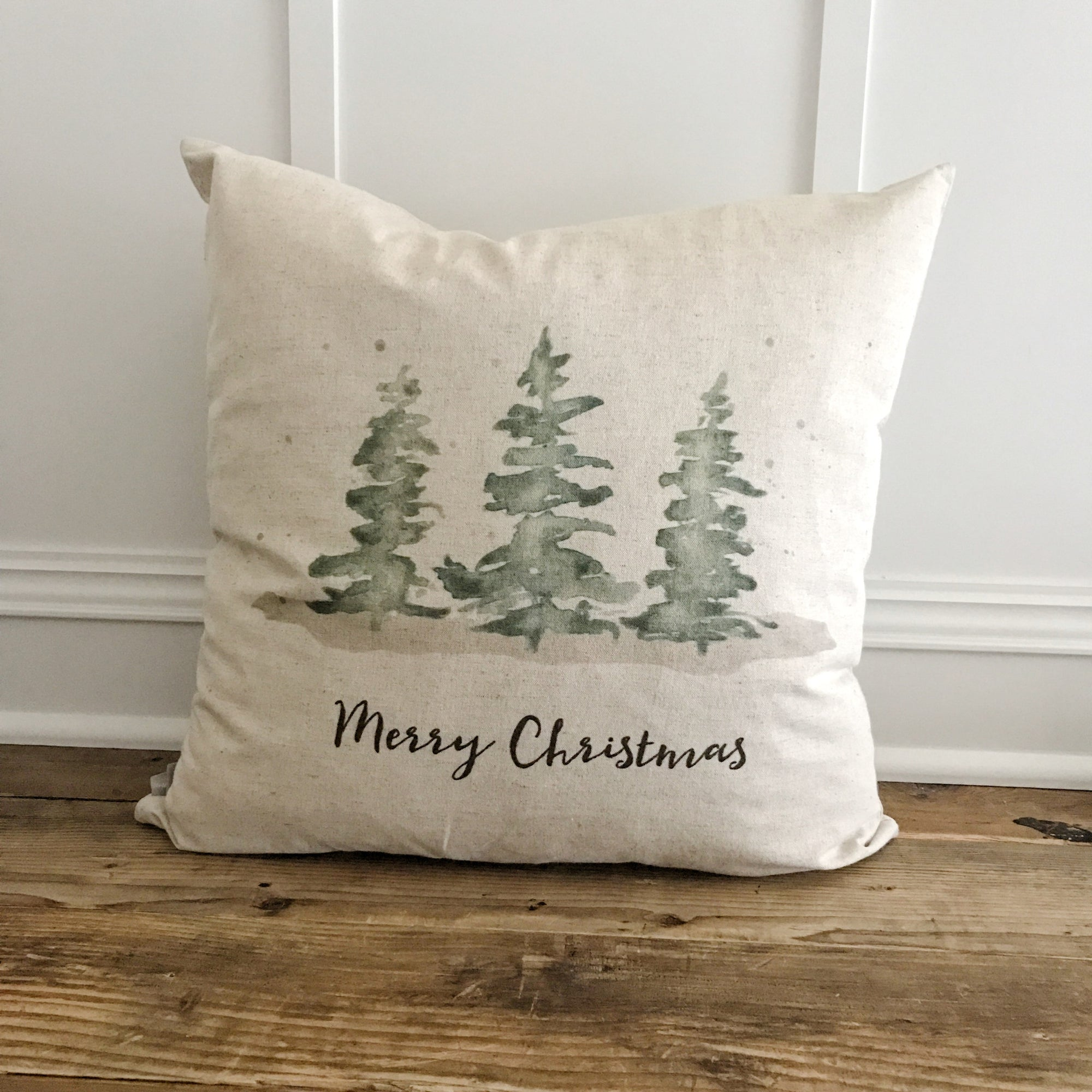 Merry Christmas Evergreen Trees Pillow Cover - Linen and Ivory