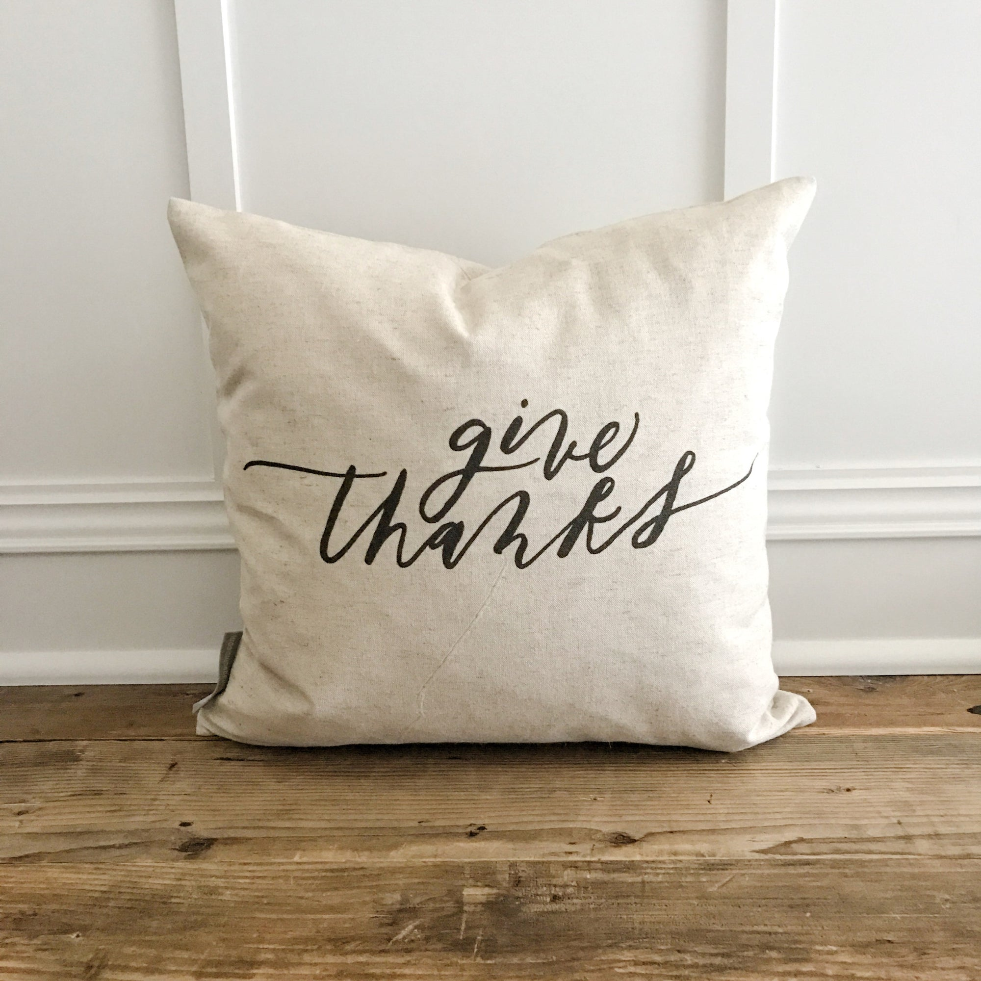 Give Thanks Calligraphy Pillow Cover - Linen and Ivory