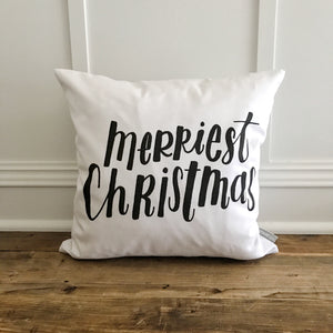 Merriest Christmas Pillow Cover - Linen and Ivory