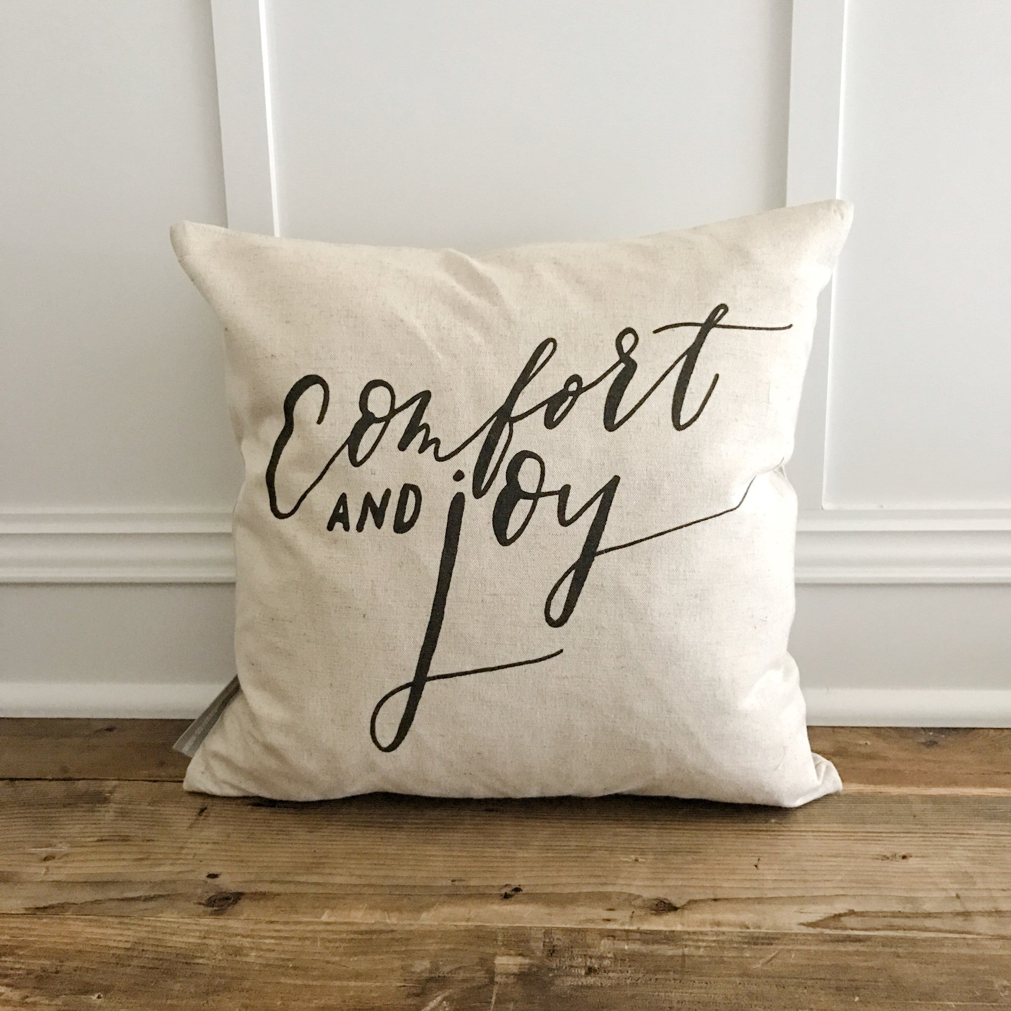 Comfort and Joy Pillow Cover - Linen and Ivory
