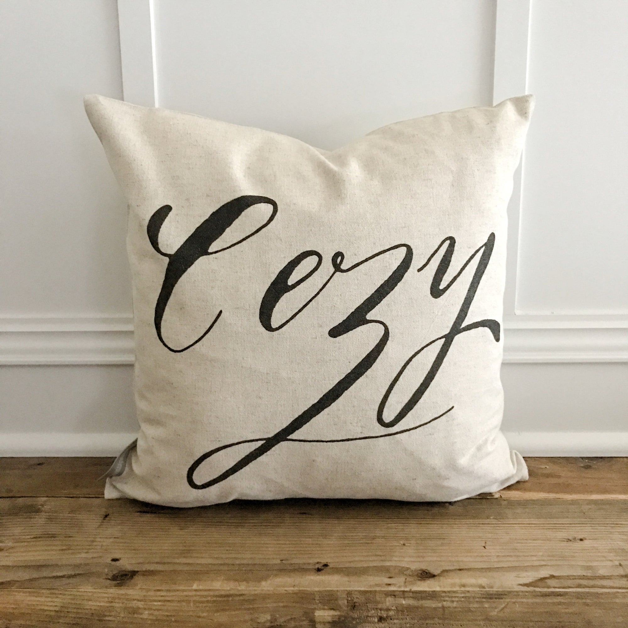 Calligraphy Cozy Pillow Cover - Linen and Ivory