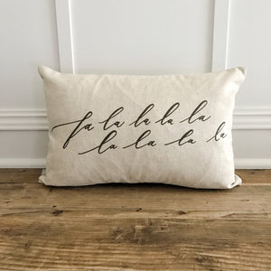 Falalalala Calligraphy Pillow Cover - Linen and Ivory