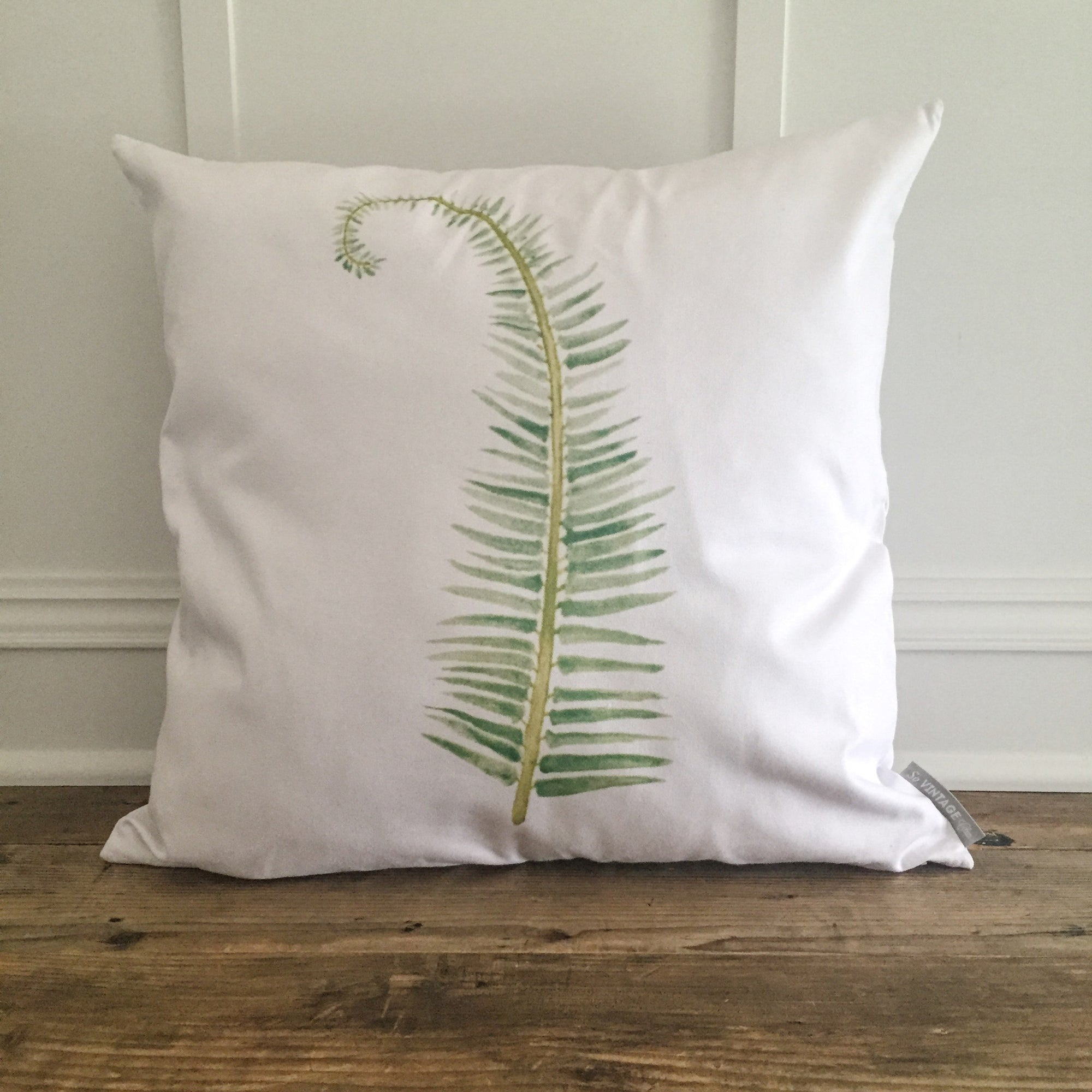 Watercolor Fern Pillow Cover - Linen and Ivory