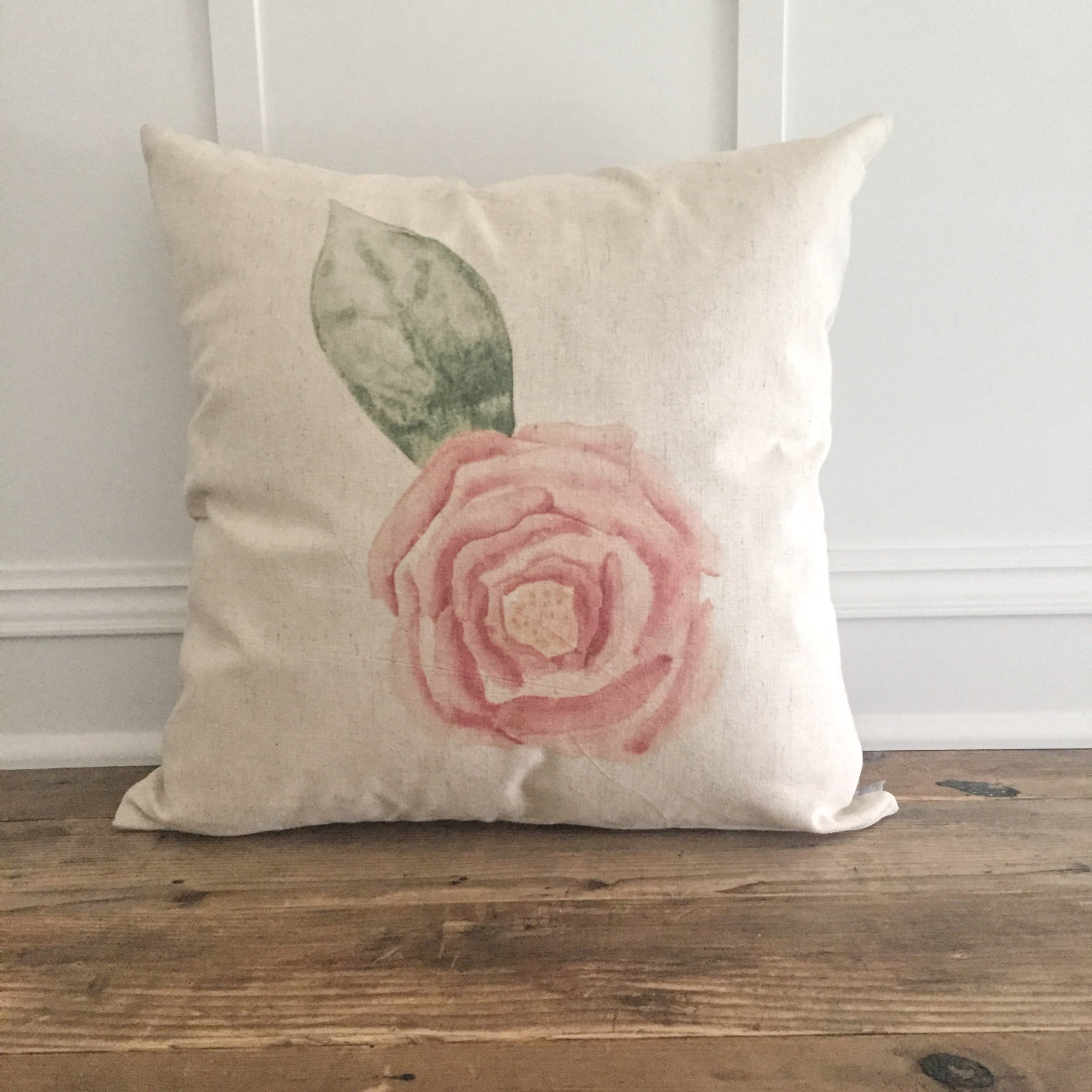 Watercolor Rose Pillow Cover - Linen and Ivory