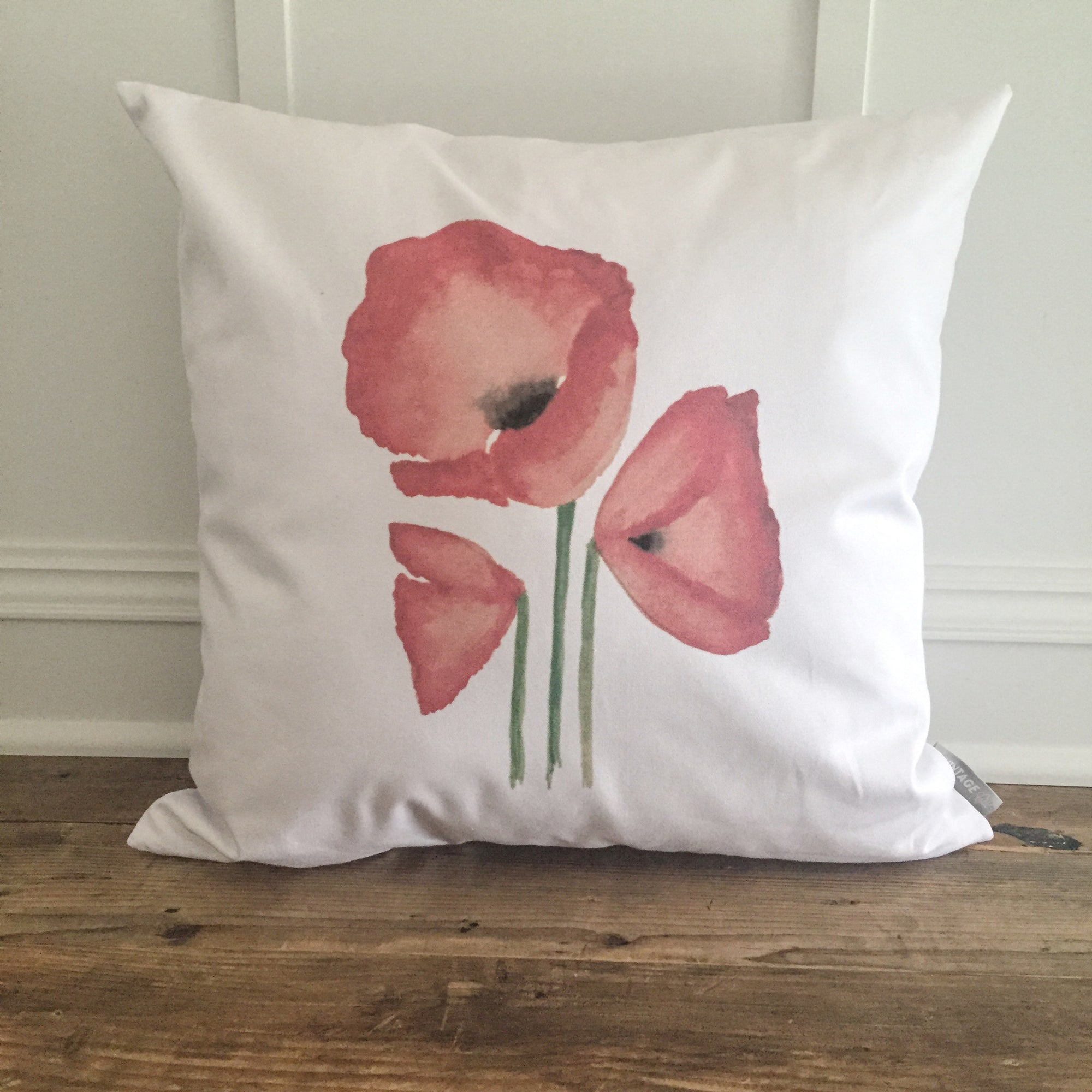 Watercolor Poppies Pillow Cover - Linen and Ivory