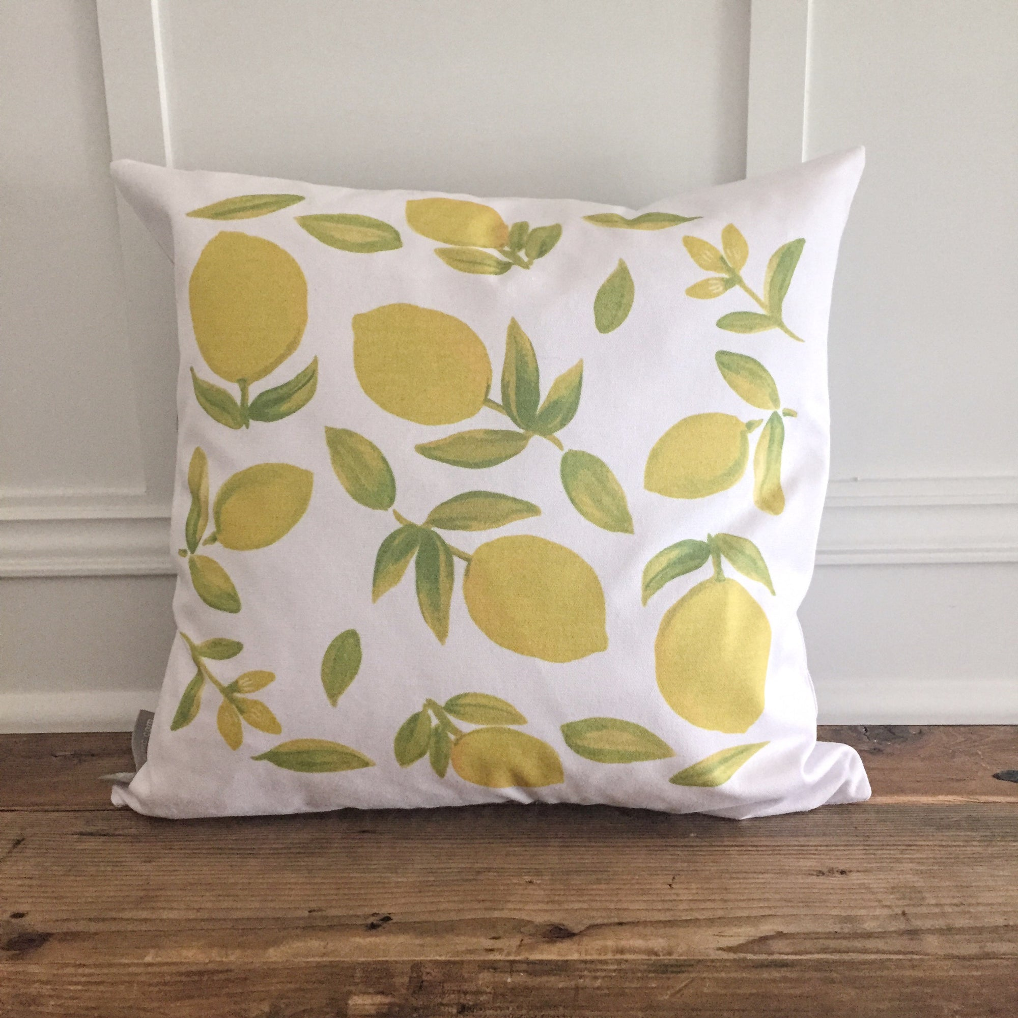 Watercolor Lemon Pillow Cover - Linen and Ivory