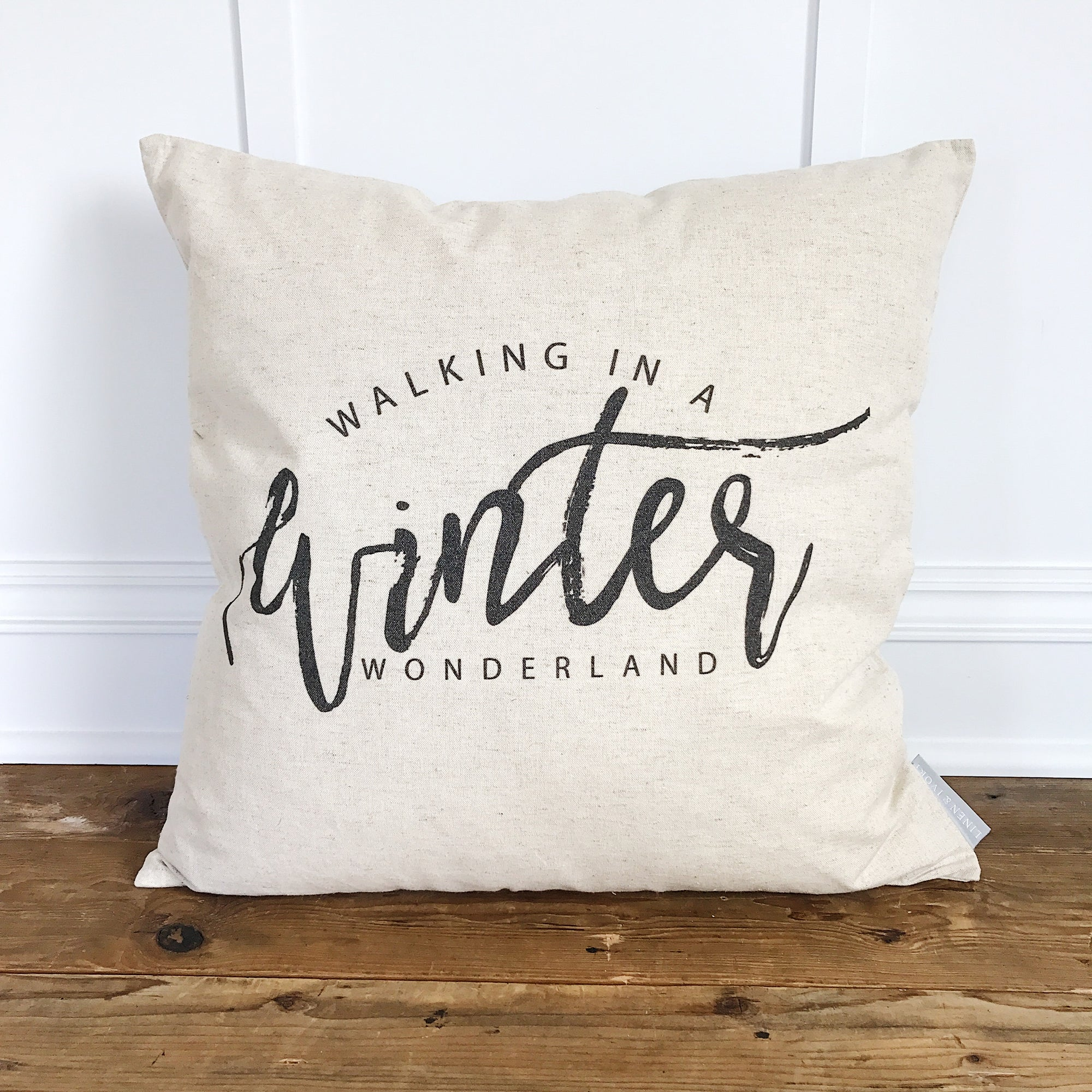 Winter Script Pillow Cover (Design by Whitney Cole) - Linen and Ivory