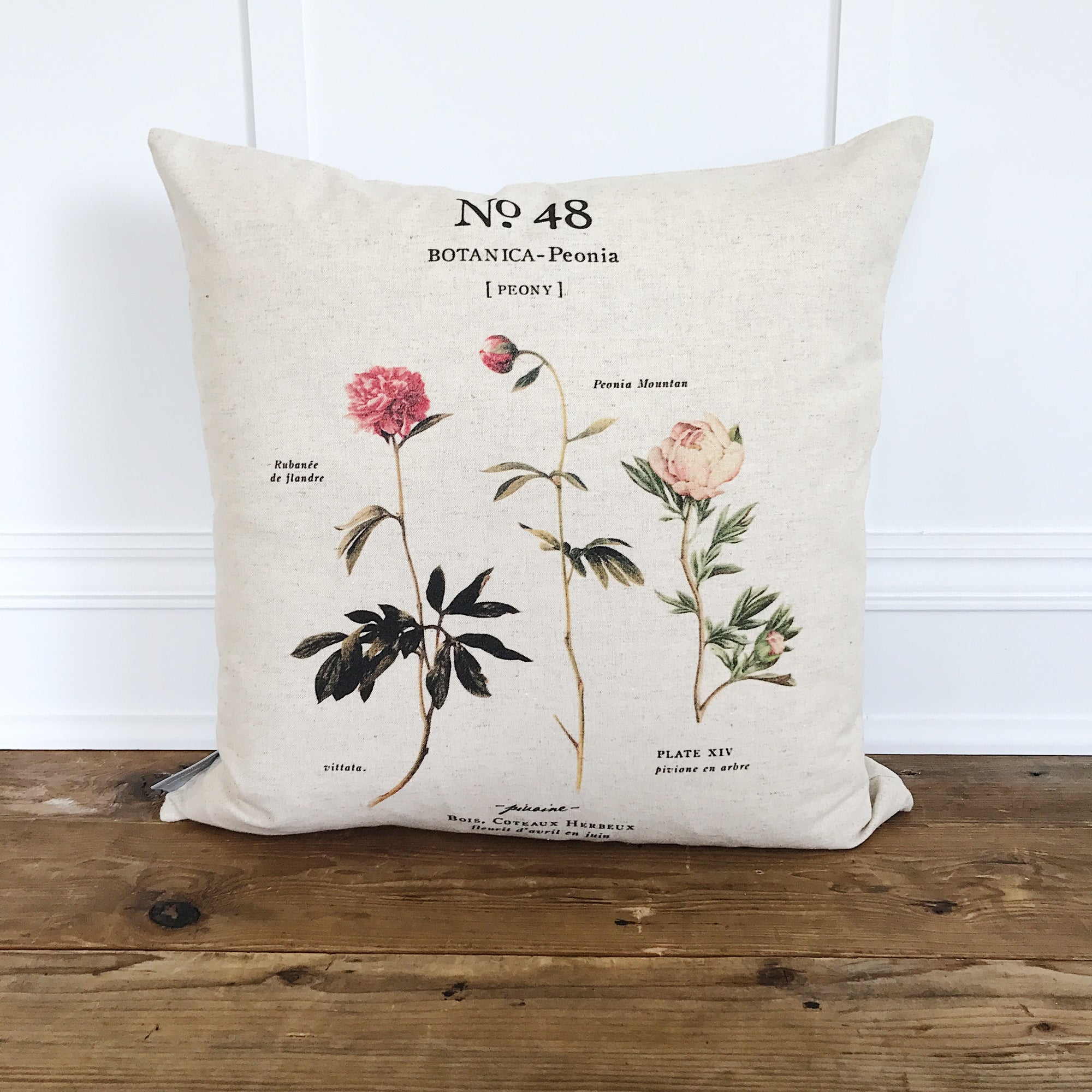 Peony Botanical Pillow Cover (Design 2) - Linen and Ivory