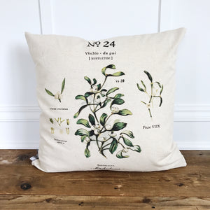 Mistletoe Botanical Pillow Cover - Linen and Ivory