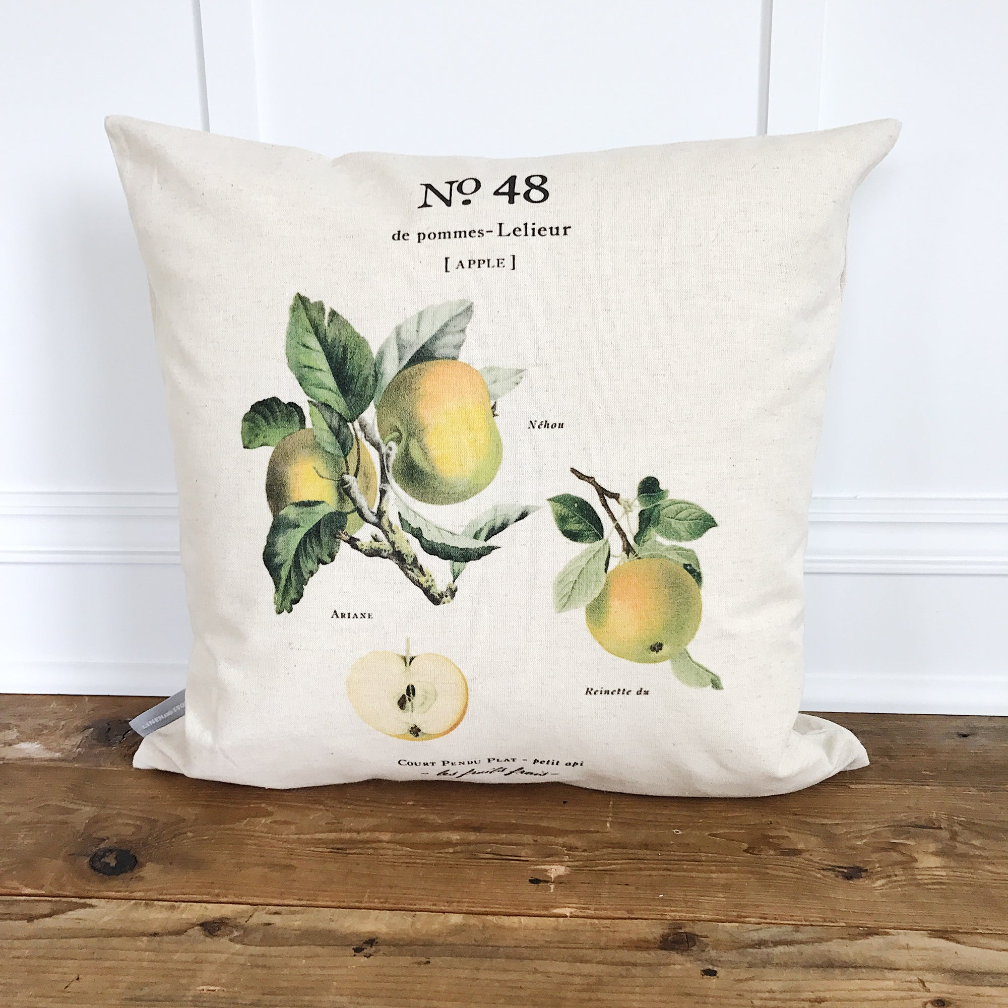 Apple Botanical Pillow Cover - Linen and Ivory