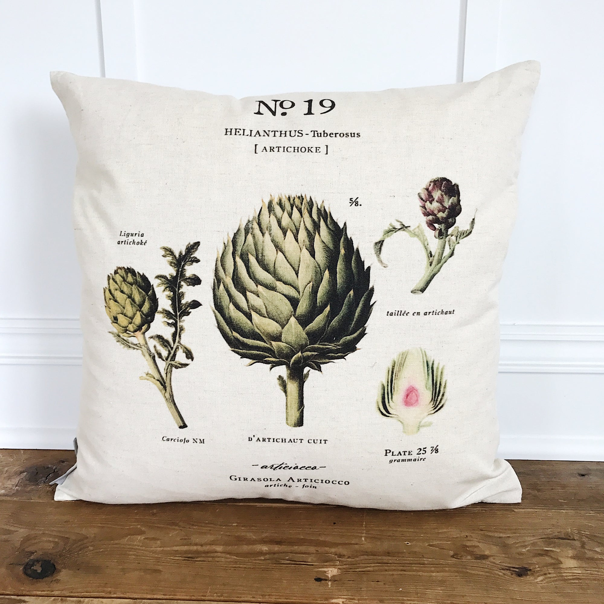 Artichoke Botanical Pillow Cover - Linen and Ivory
