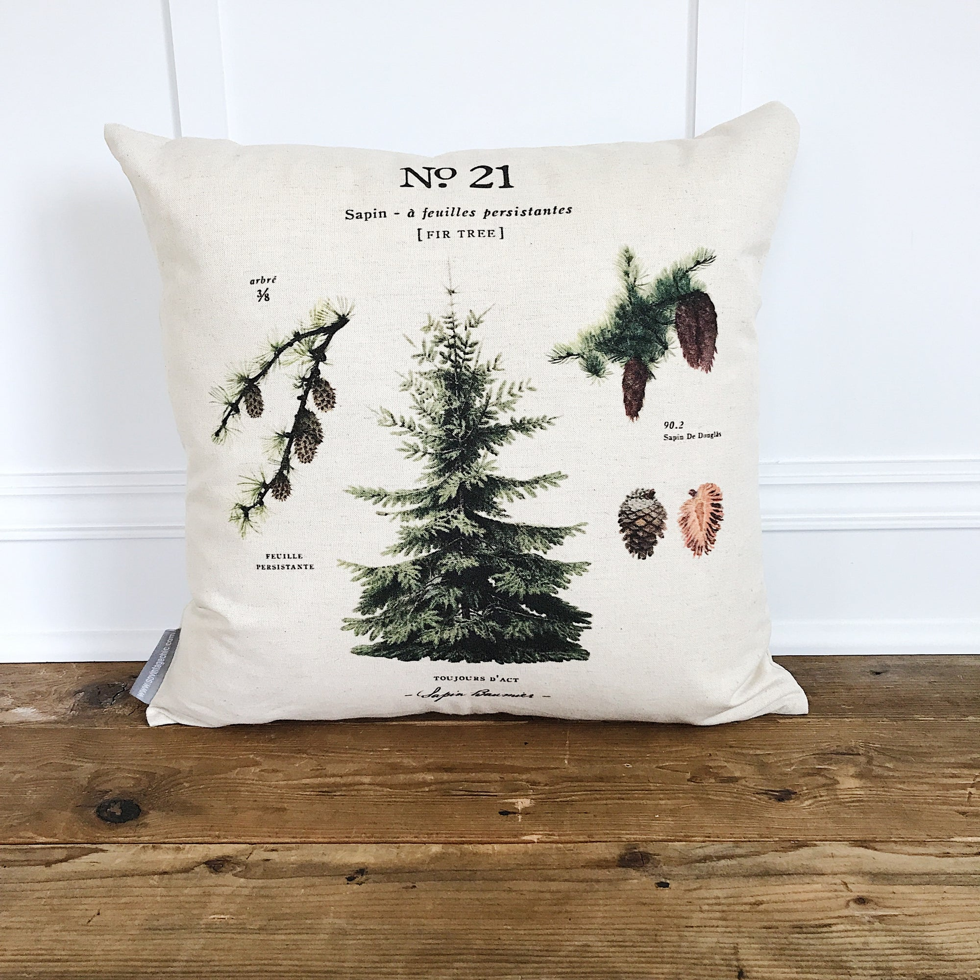 Fir Tree Botanical Pillow Cover - Linen and Ivory