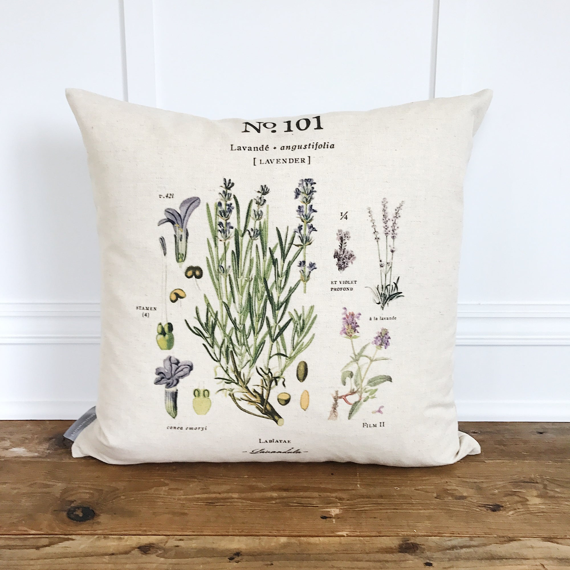 Lavender Botanical Pillow Cover - Linen and Ivory