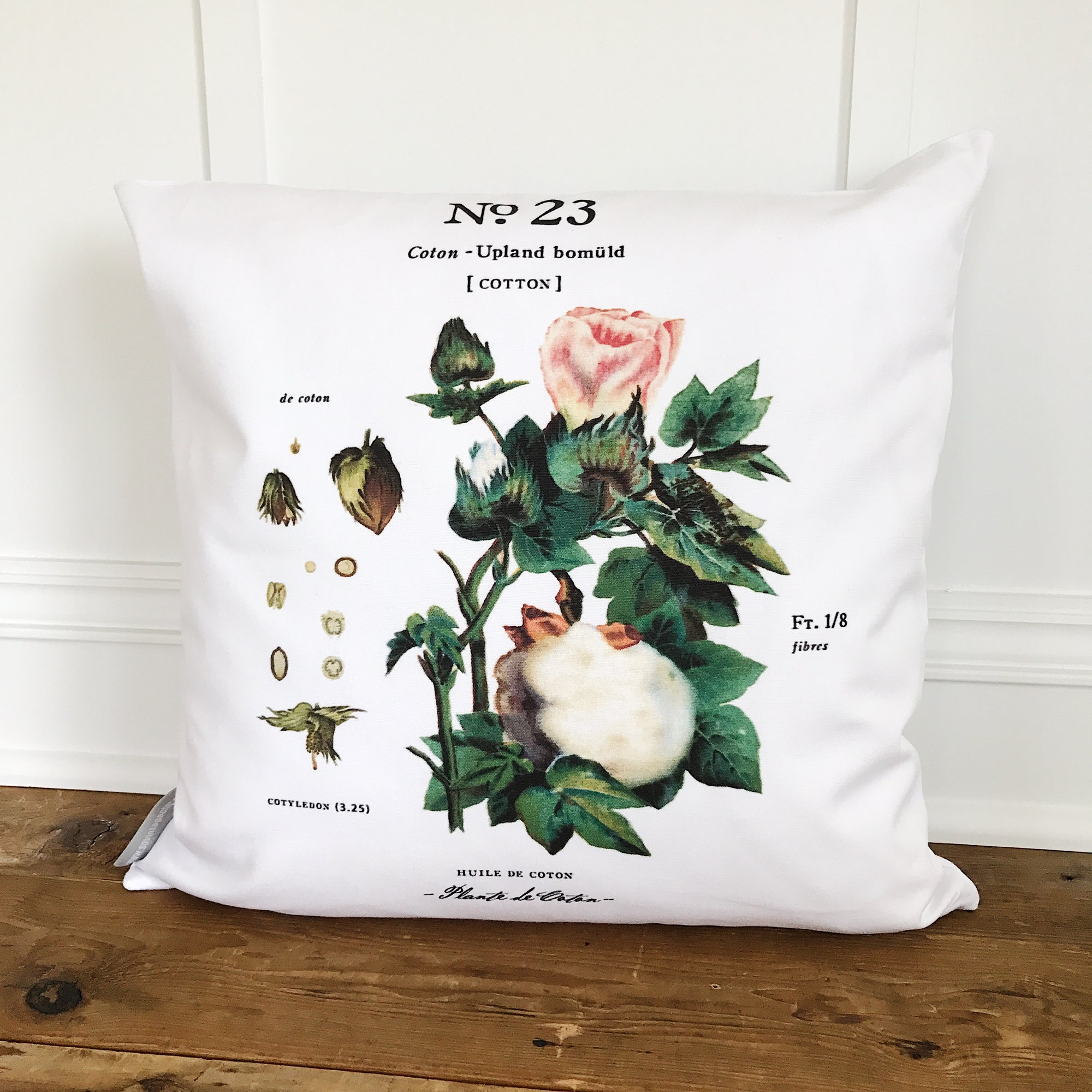 Cotton No. 23 Botanical Pillow Cover - Linen and Ivory