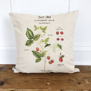 Raspberry Botanical Pillow Cover - Linen and Ivory