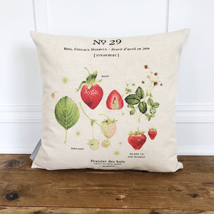 Strawberry Botanical Pillow Cover - Linen and Ivory