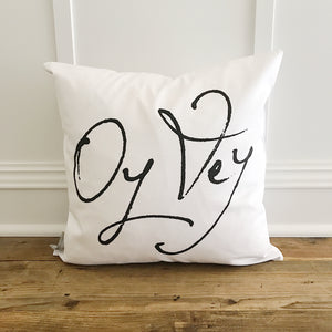 Oy Vey Pillow Cover - Linen and Ivory