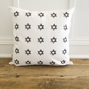 Star of David Stamp Pillow Cover - Linen and Ivory