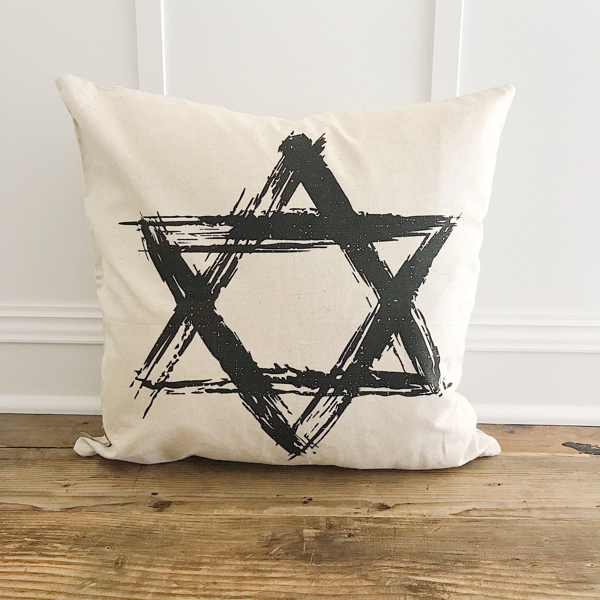Star of David (Single) Pillow Cover - Linen and Ivory