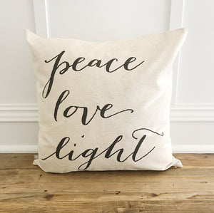 Peace Love Light Pillow Cover - Linen and Ivory