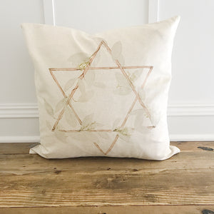 Watercolor Star of David Pillow Cover - Linen and Ivory