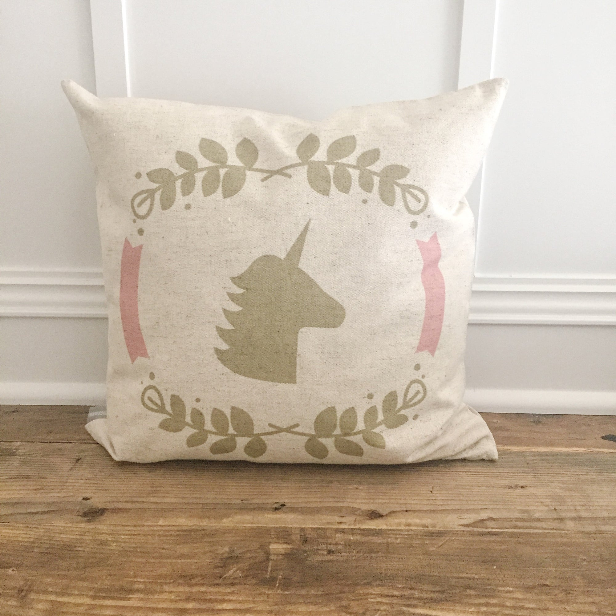 Unicorn Laurel Wreath Design 1 Pillow Cover - Linen and Ivory