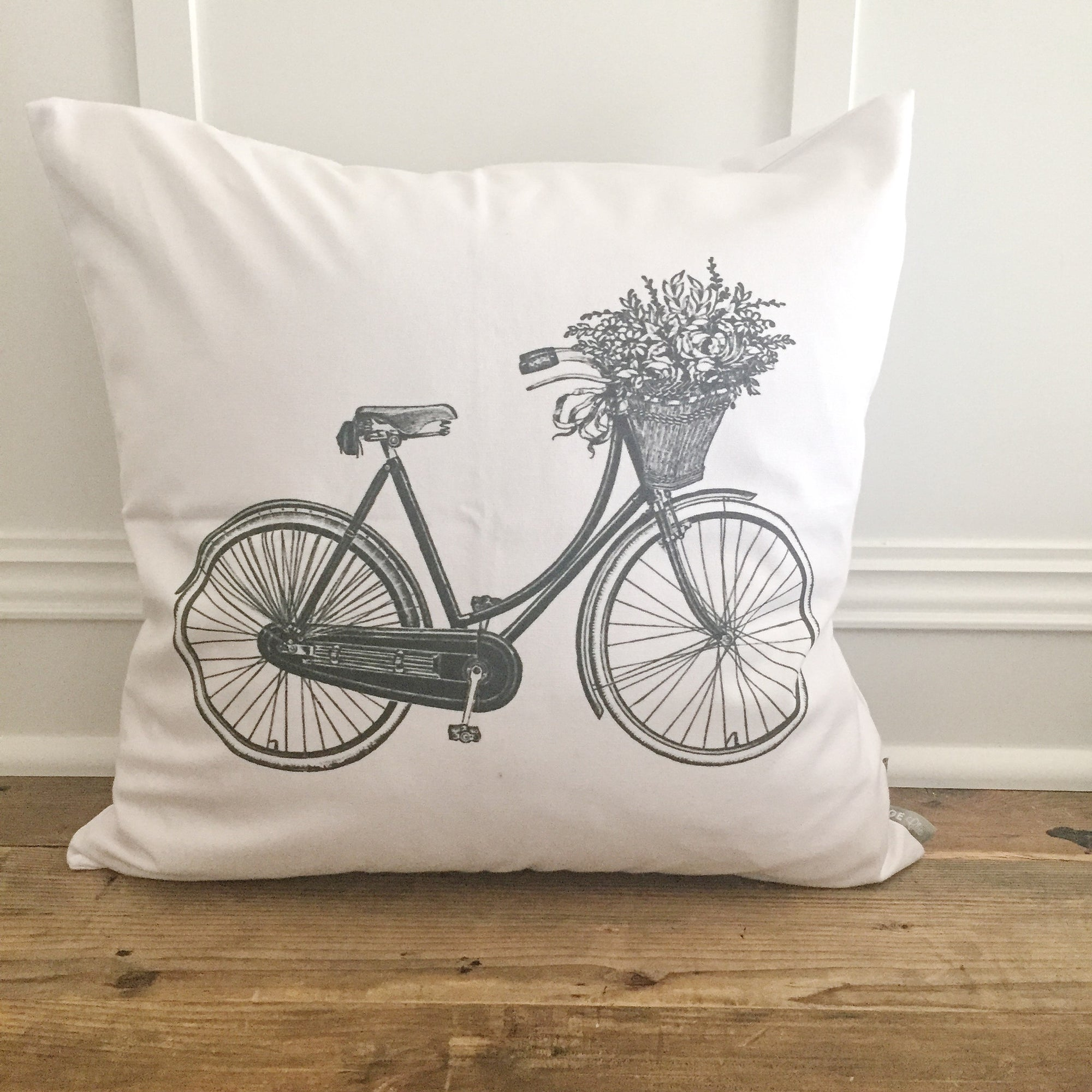 Vintage Bike with Flowers Pillow Cover - Linen and Ivory