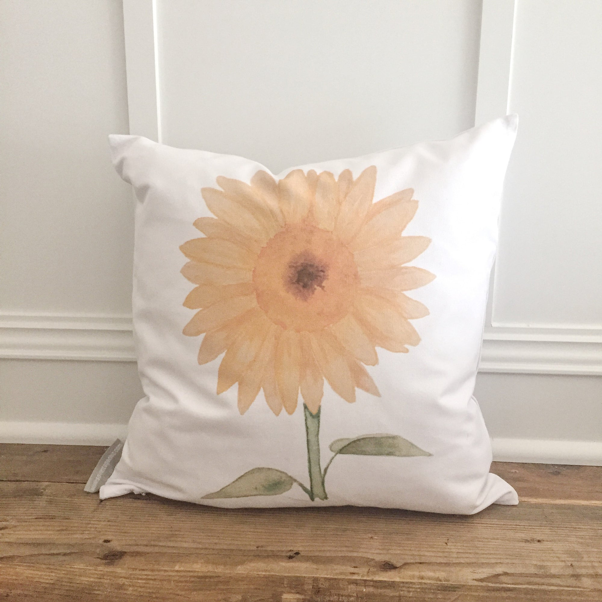 Watercolor Sunflower Pillow Cover - Linen and Ivory