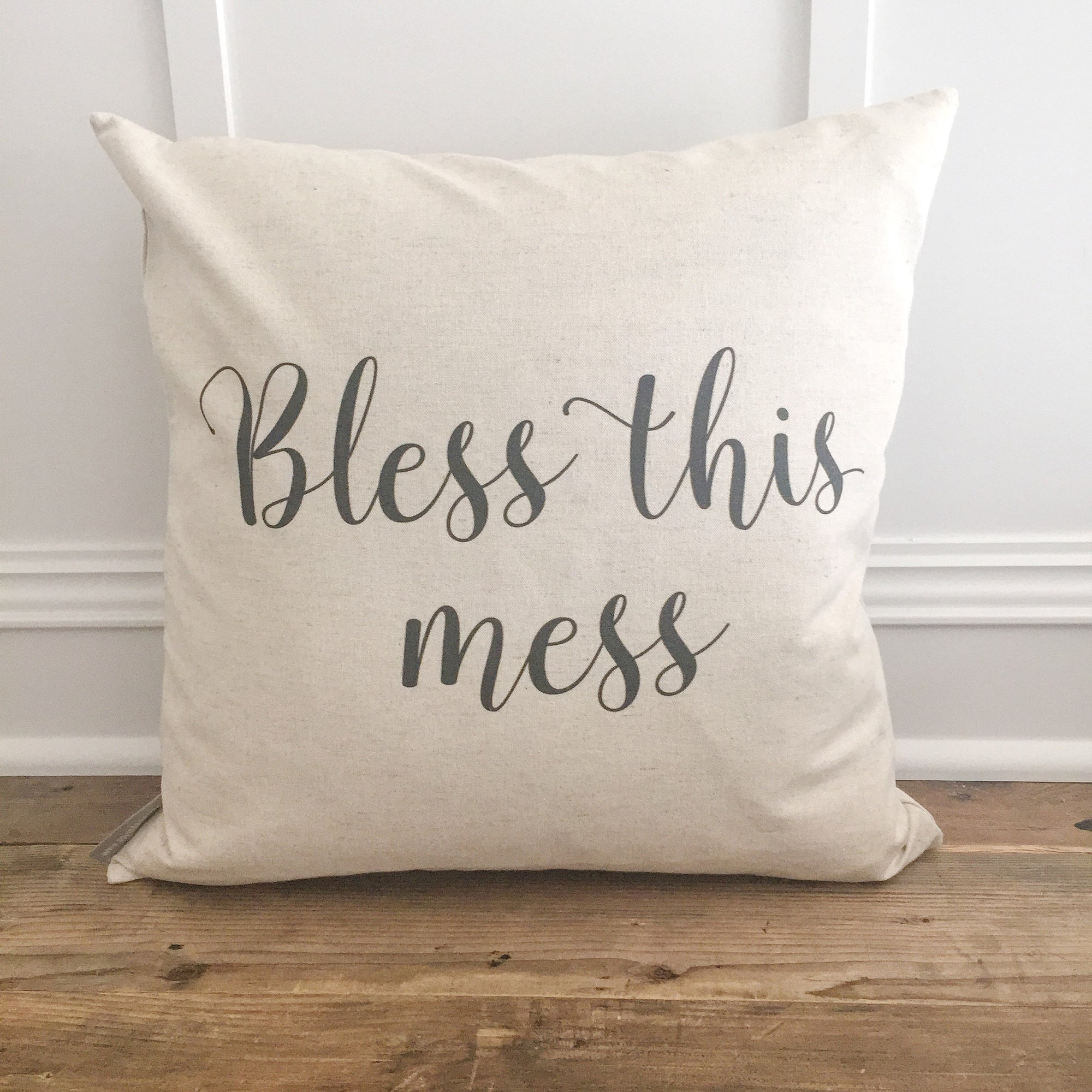 Bless This Mess Pillow Cover - Linen and Ivory