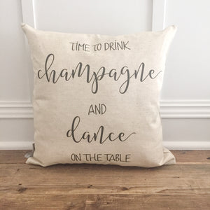 Drink Champagne Pillow Cover - Linen and Ivory