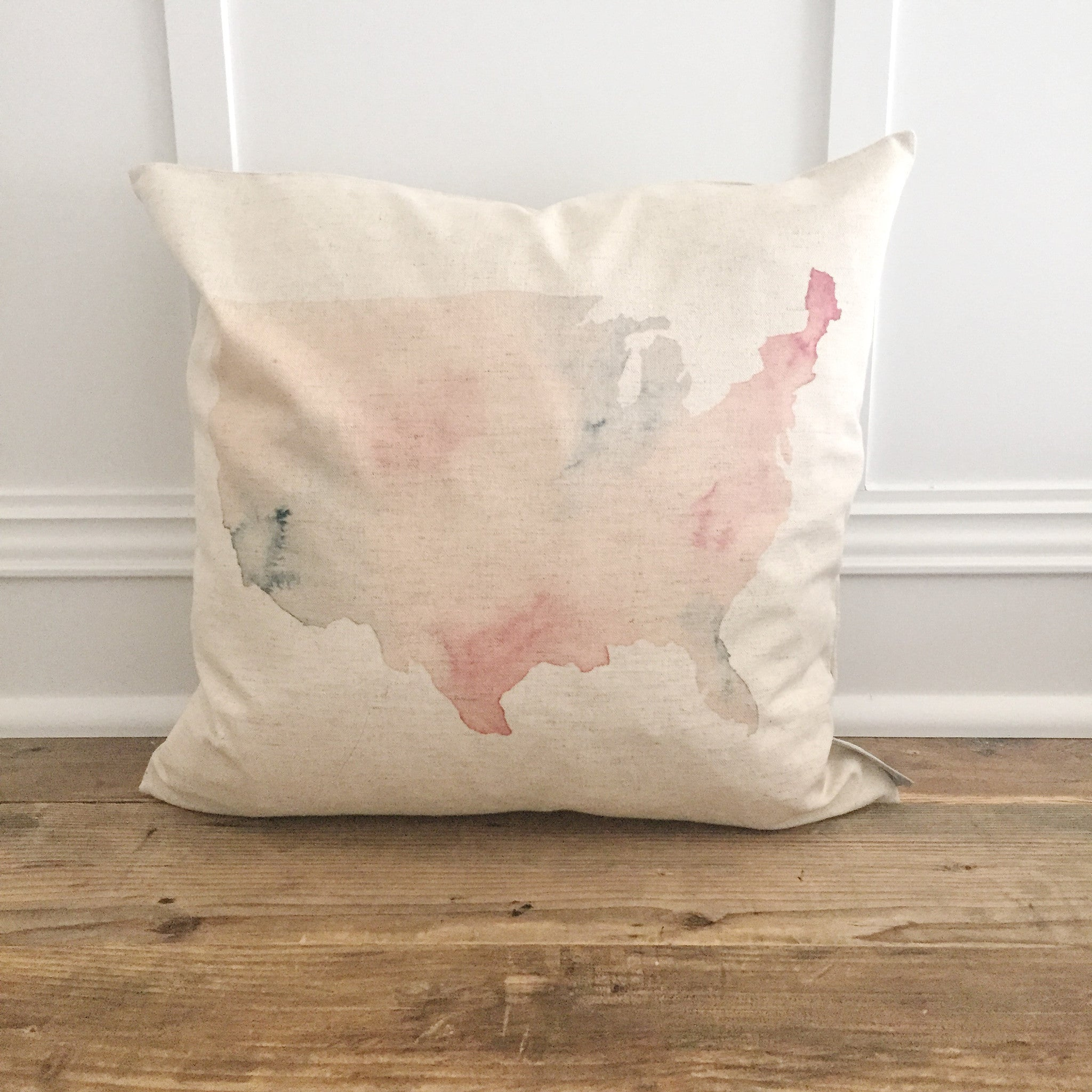 Watercolor Usa Map Pillow Cover Linen And Ivory