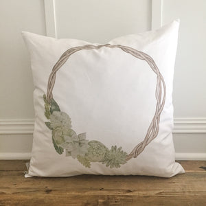 Succulent Cactus Wreath Pillow Cover - Linen and Ivory
