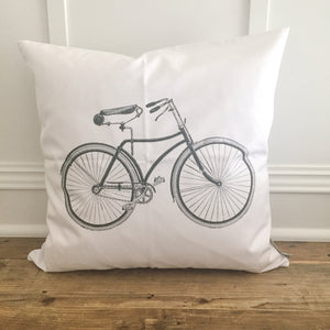 Vintage Bike Pillow Cover - Linen and Ivory