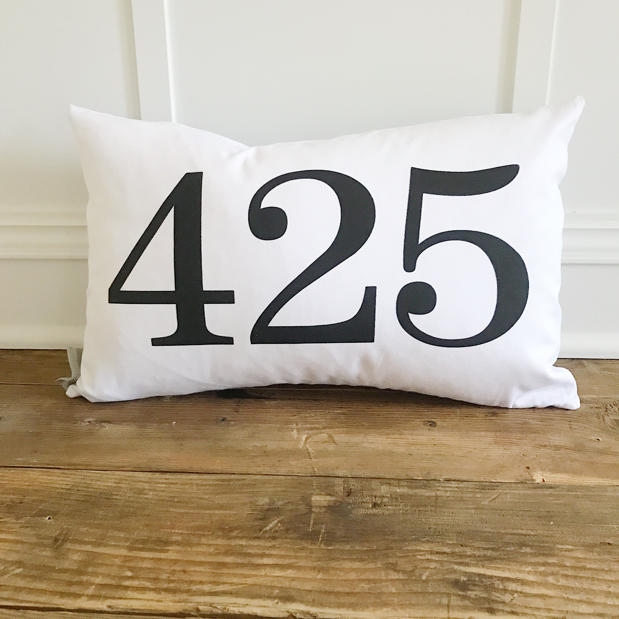 Area Code Pillow Cover - Linen and Ivory