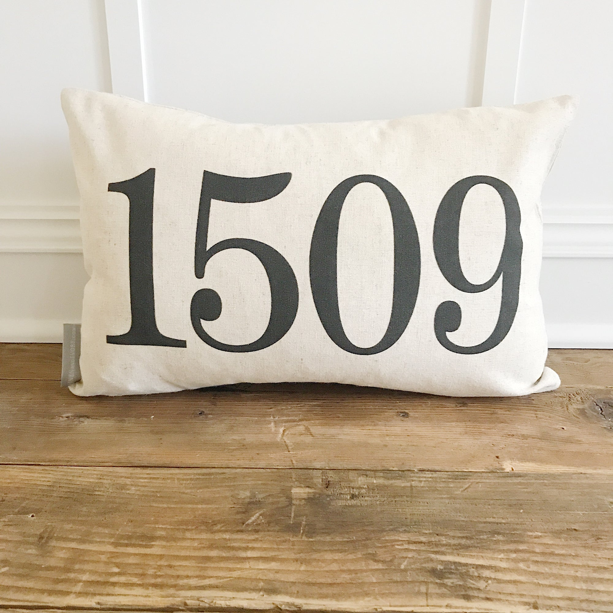 Address Number Pillow Cover - Linen and Ivory