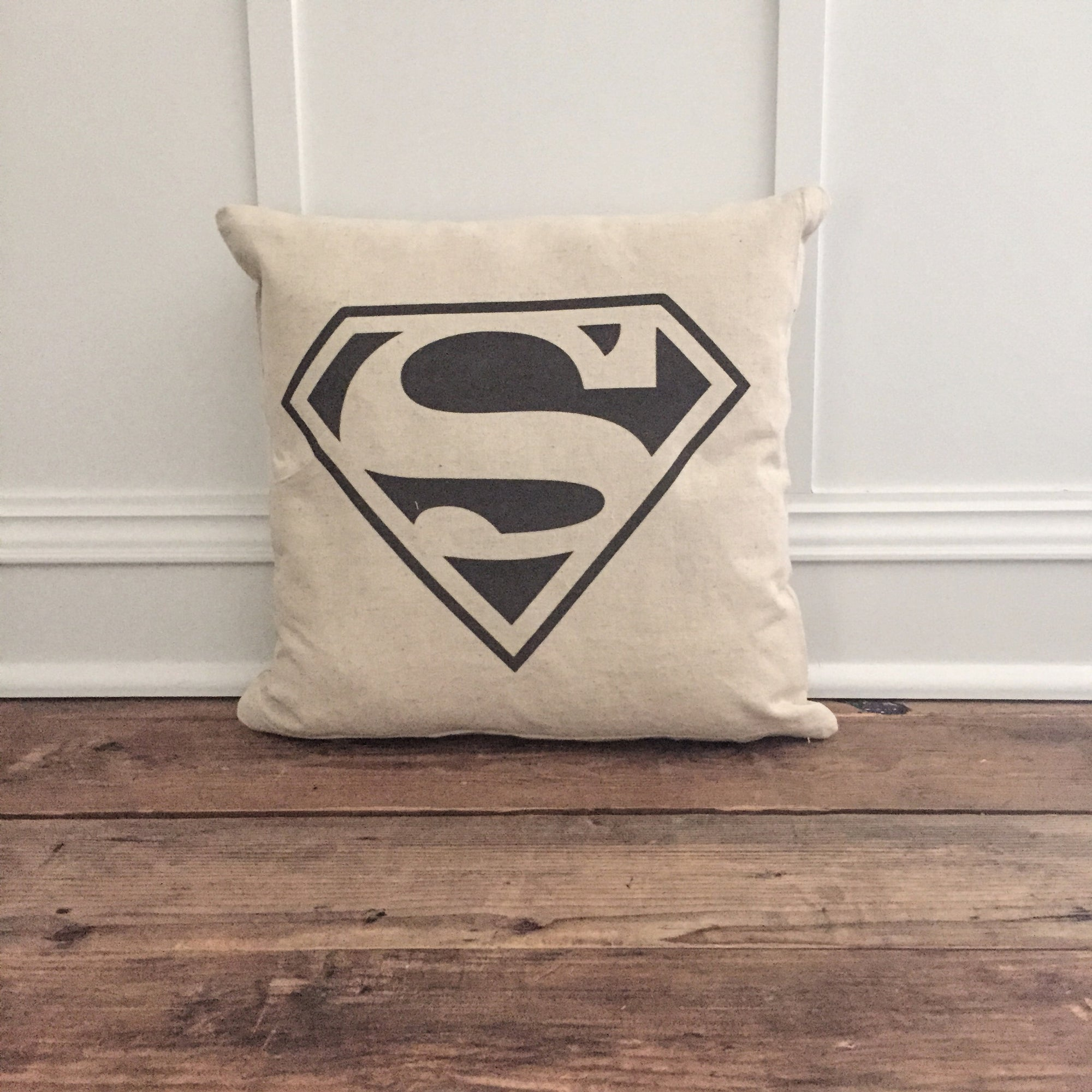 Vintage Superman Pillow Cover - Linen and Ivory