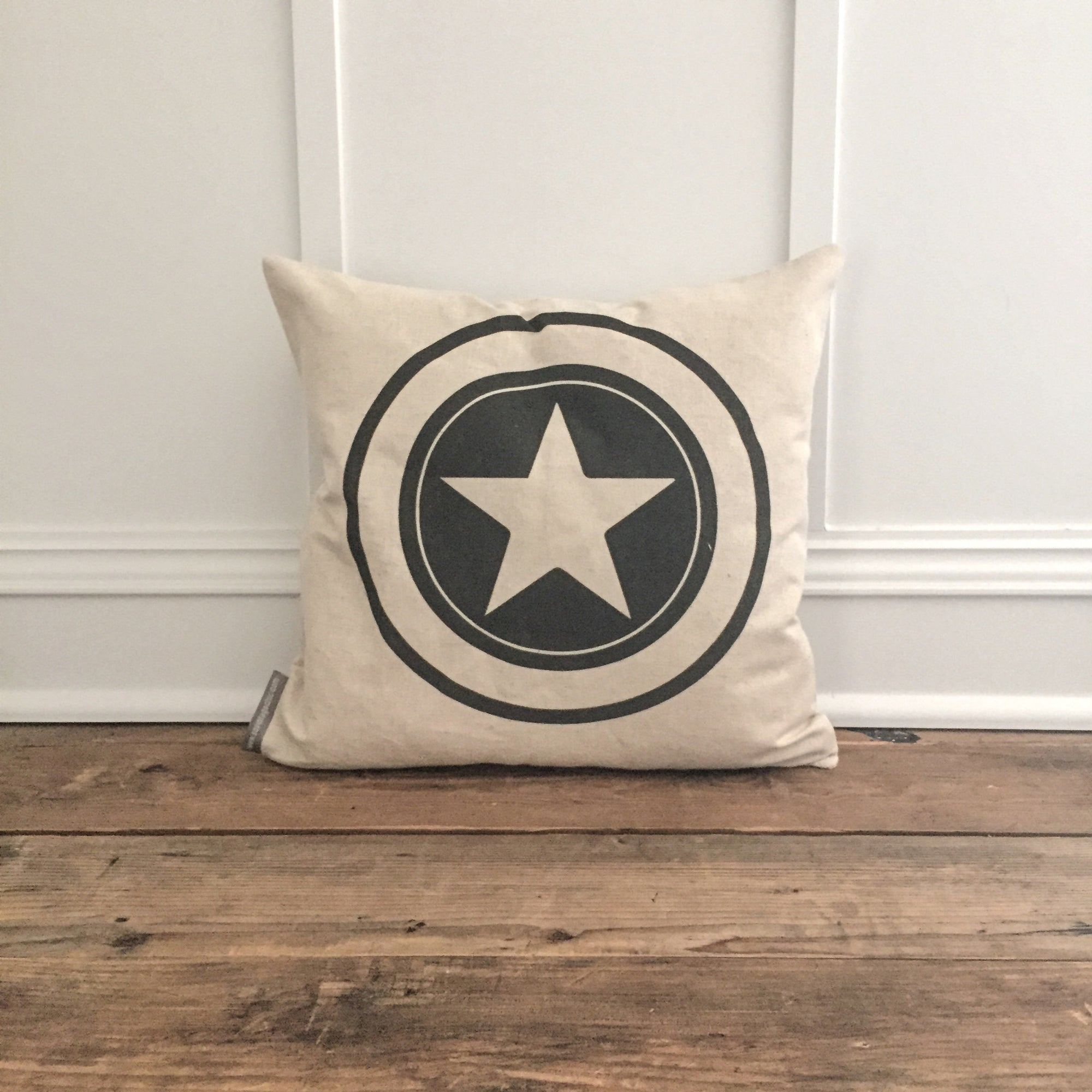 Vintage Captain America Pillow Cover - Linen and Ivory