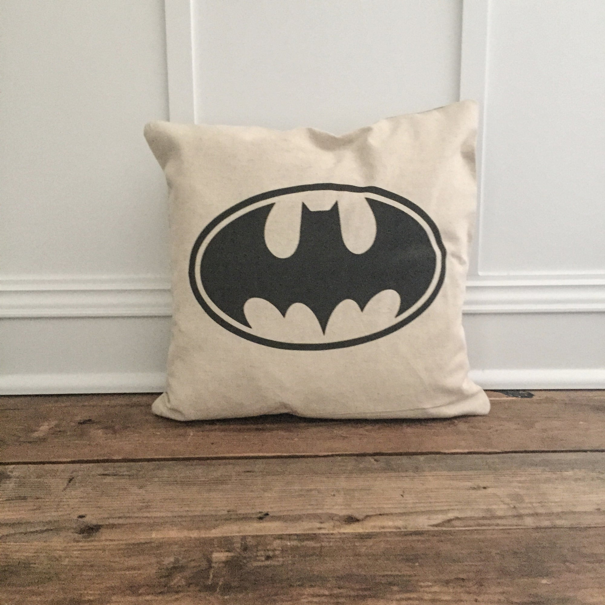 Vintage Batman Pillow Cover - Linen and Ivory
