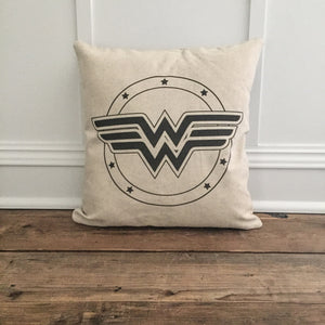 Vintage Wonder Woman Pillow Cover - Linen and Ivory