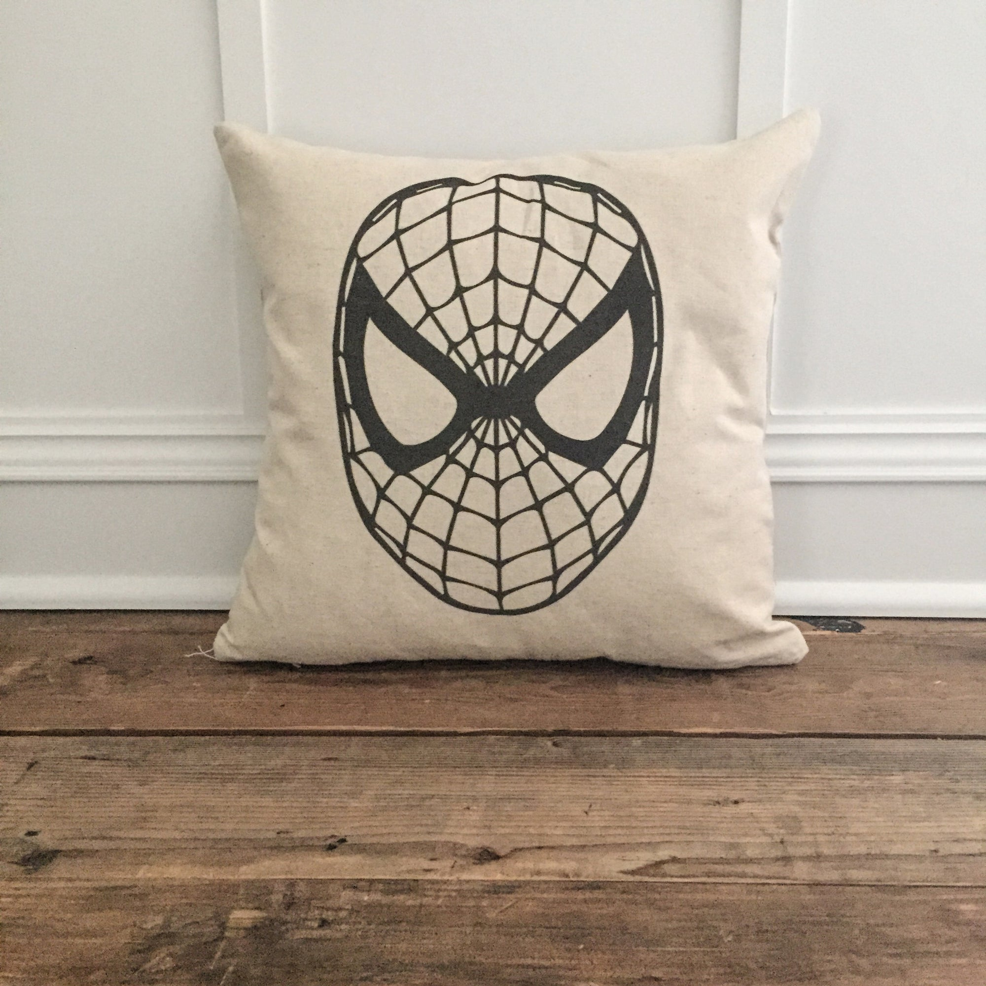 Vintage Spiderman Pillow Cover - Linen and Ivory
