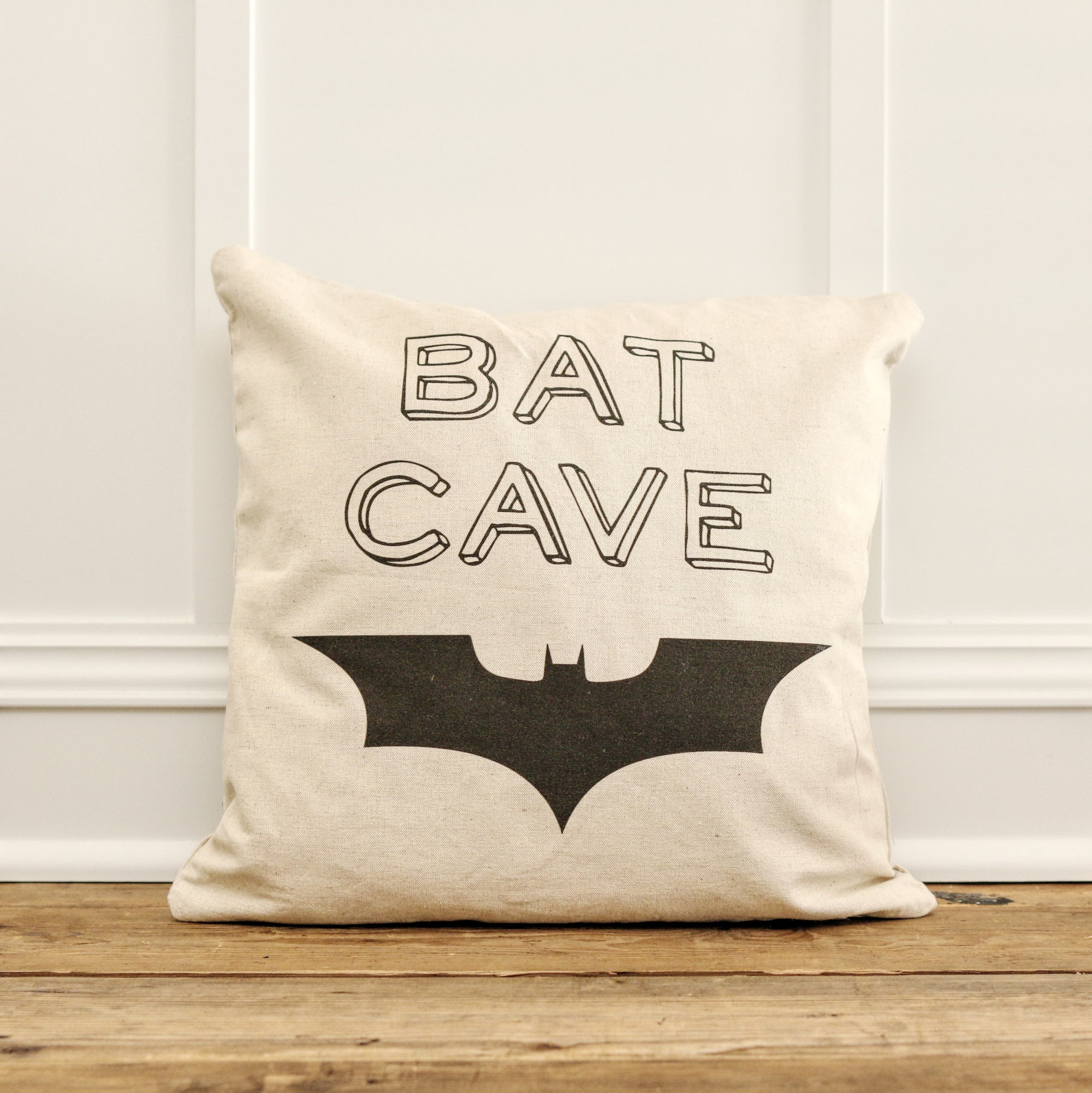 Vintage Bat Cave Pillow Cover - Linen and Ivory