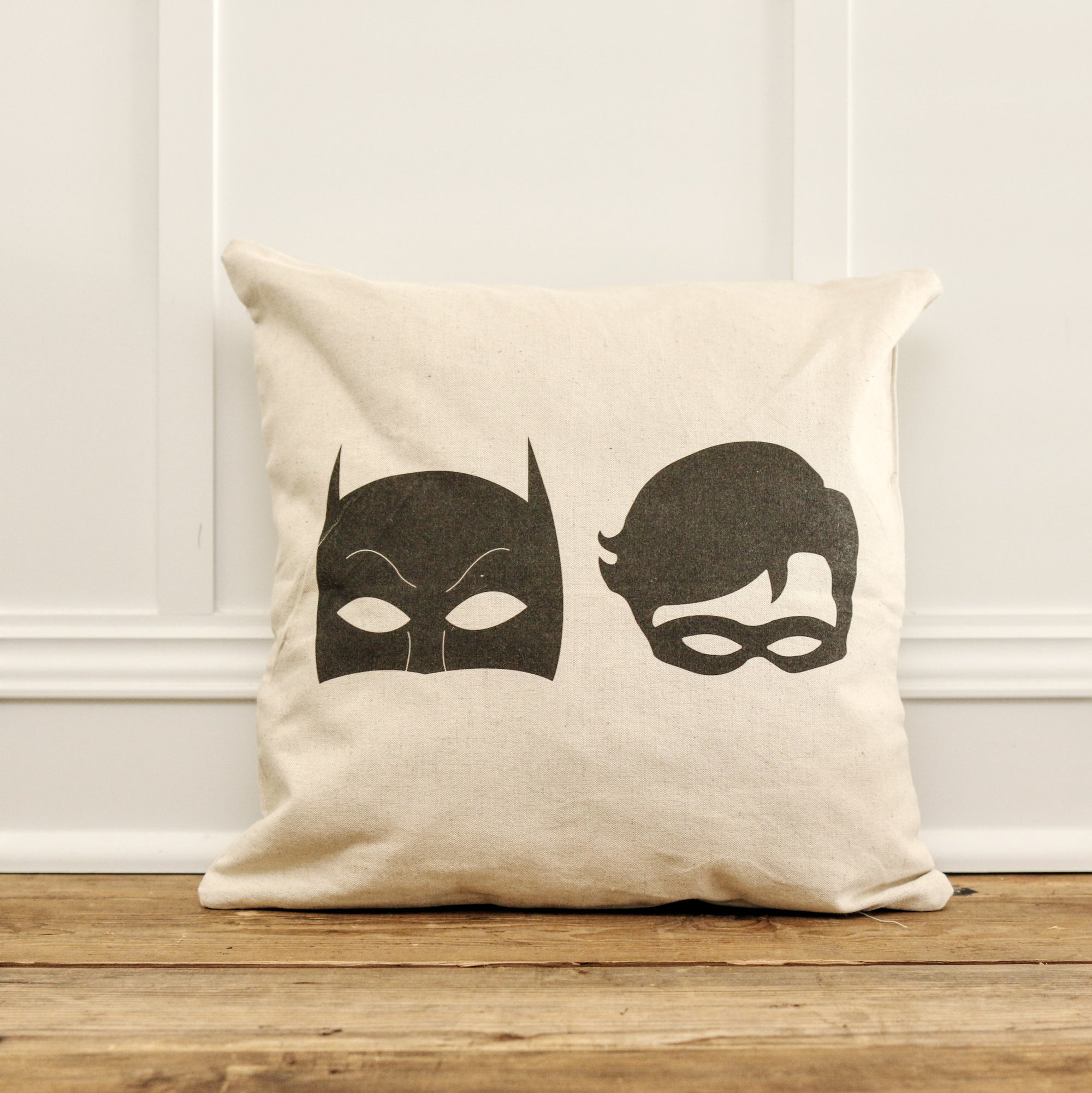 Vintage Batman & Robin Pillow Cover - Linen and Ivory