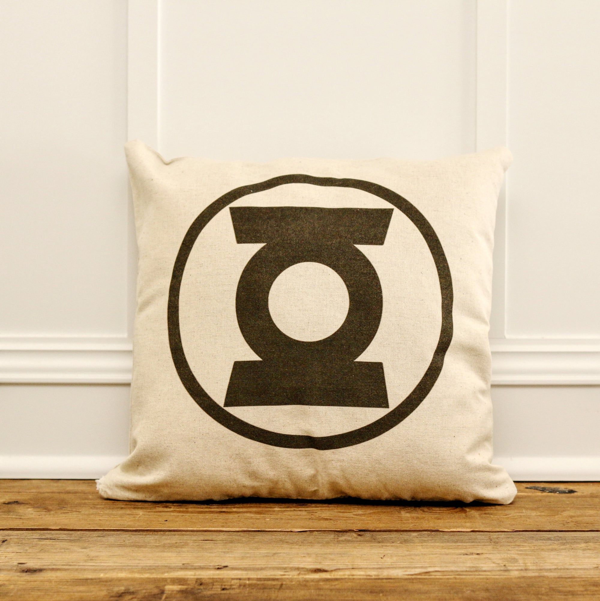 Vintage Green Lantern Pillow Cover - Linen and Ivory