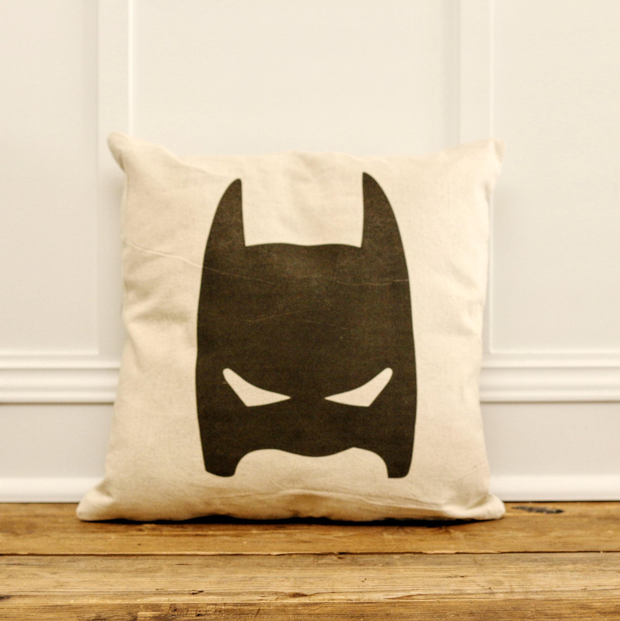 Vintage Batman Mask Pillow Cover - Linen and Ivory