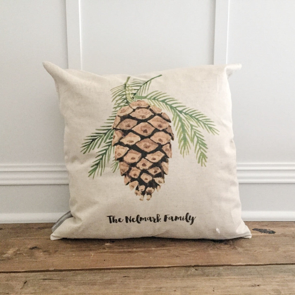 Custom Name Pinecone Pillow Cover - Linen and Ivory