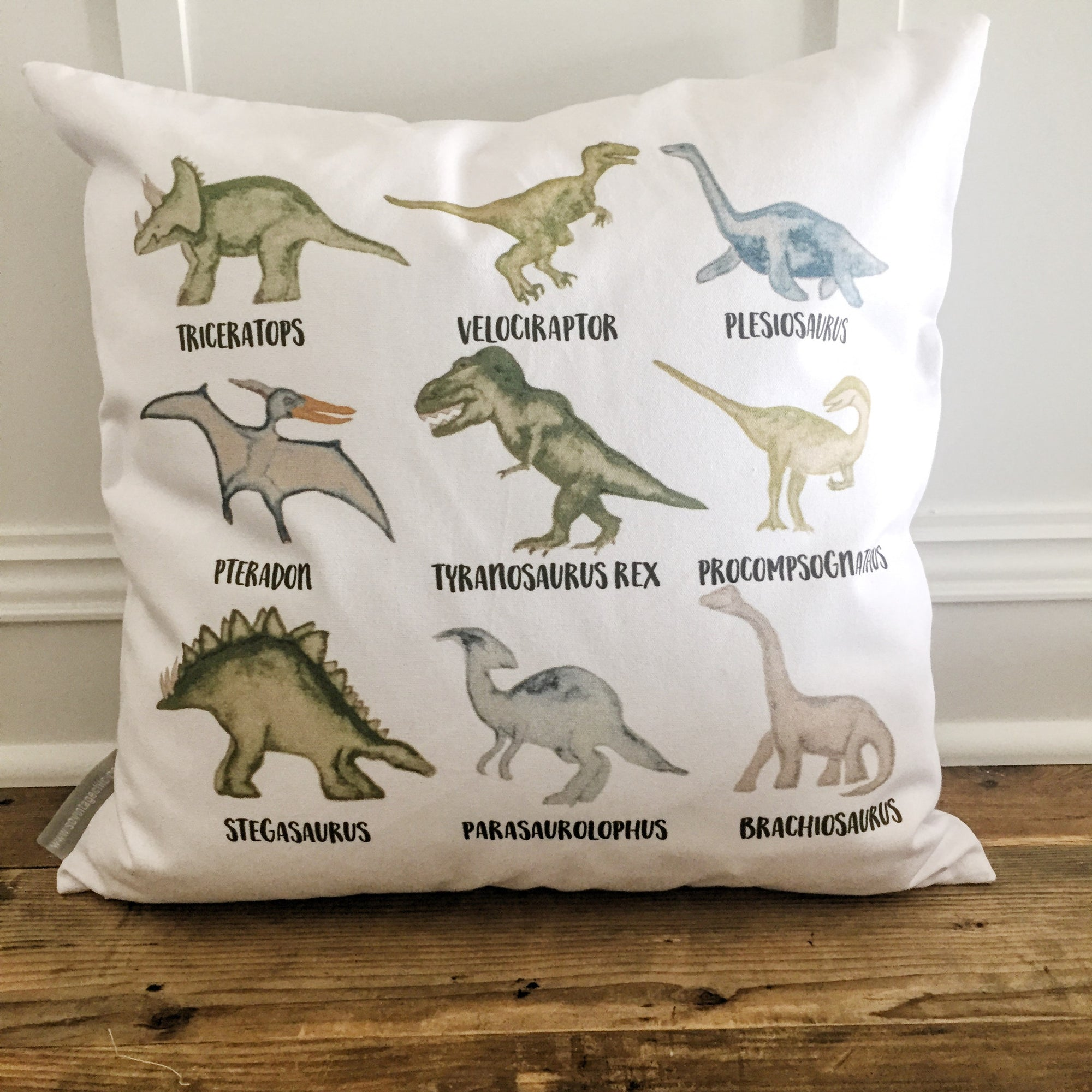 Dinosaur Pillow Cover - Linen and Ivory