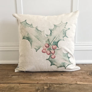 Watercolor Holly Berry Pillow Cover - Linen and Ivory